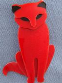 Quarrelsome Cat Brooch by Lea Stein of Paris - Retro Cat Pin (Sold)